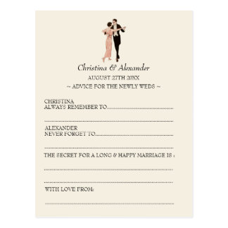Vintage Wedding Ad Lib Cards Advice 1920's Theme Postcard