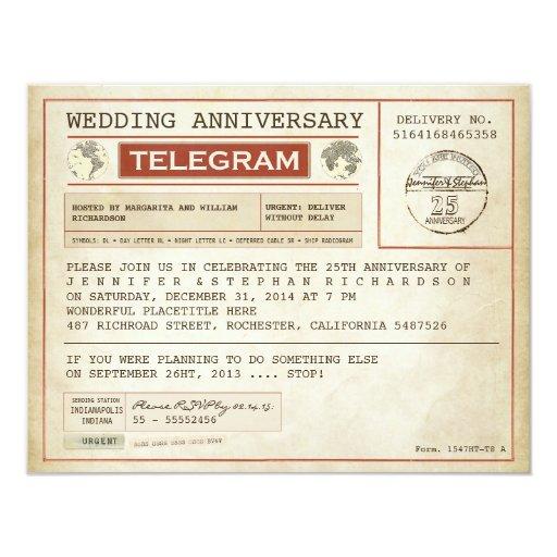 Vintage Wedding Anniversary Telegram Invitation