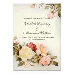 Vintage Wedding Antique Garden Rose Flowers Floral 13 Cm X 18 Cm Invitation Card