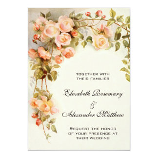 Vintage Wedding, Antique Pink Rose Flowers Floral 13 Cm X 18 Cm Invitation Card
