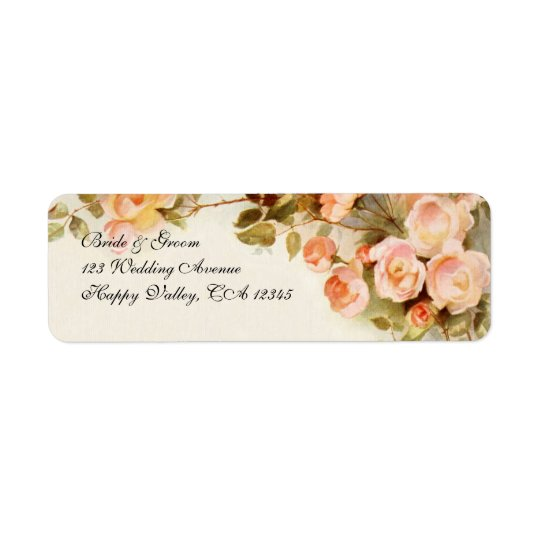 Vintage Wedding, Antique Pink Rose Flowers Floral Return Address Label