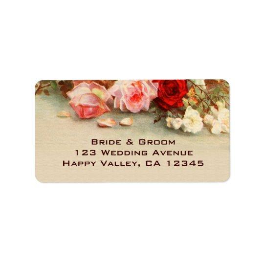 Vintage Wedding, Antique Rose Flowers Floral Art Label