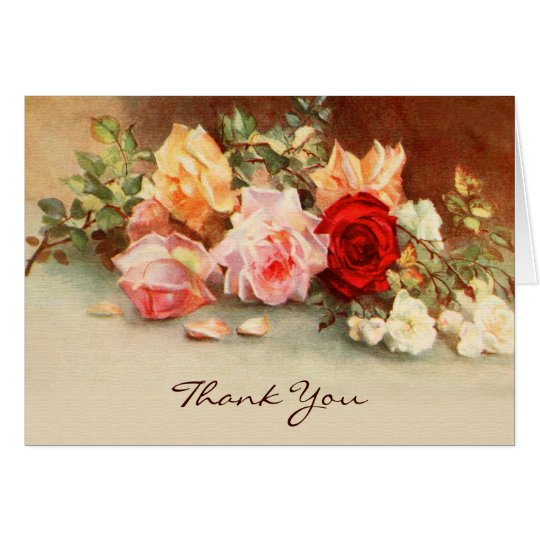 Vintage Wedding, Antique Roses Flowers, Thank You Card