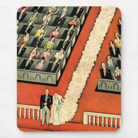 Vintage Wedding, Art Deco Bride and Groom Newlywed Mouse Mat
