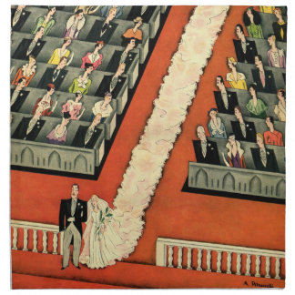 Vintage Wedding, Art Deco Bride and Groom Newlywed Napkin