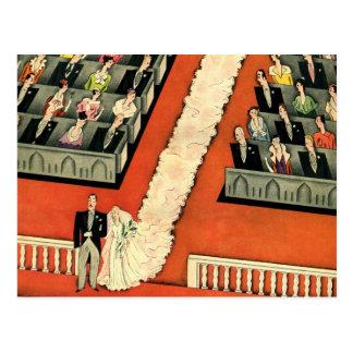 Vintage Wedding, Art Deco Bride and Groom Newlywed Postcard
