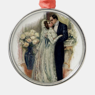 Vintage Wedding Bells Bride And Groom Silver-Colored Round Decoration