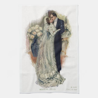 Vintage Wedding Bells Bride And Groom Tea Towel