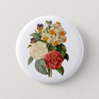 Vintage Wedding Bouquet, Blooming Flowers 6 Cm Round Badge