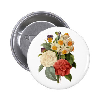 Vintage Wedding Bouquet, Blooming Flowers 6 Cm Round Badge