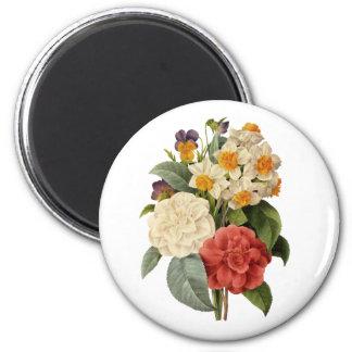 Vintage Wedding Bouquet, Blooming Flowers 6 Cm Round Magnet