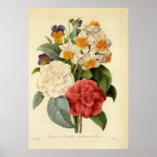 Vintage Wedding Bouquet, Blooming Flowers Print
