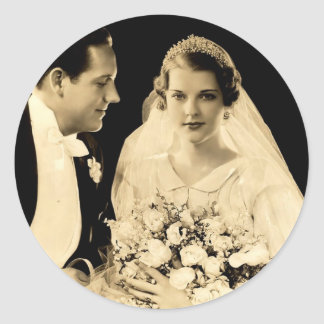 Vintage Wedding Bride and Groom Classic Round Sticker
