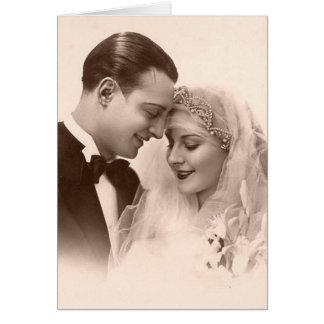Vintage Wedding Bride and Groom Greeting Card