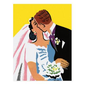 Vintage Wedding, Bride and Groom Newlyweds Kissing Postcard
