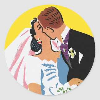 Vintage Wedding, Bride and Groom Newlyweds Kissing Round Sticker