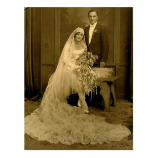 Vintage Wedding Bride and Groom Postcard
