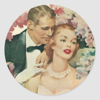 Vintage Wedding, Bride and Groom with Pink Flowers Classic Round Sticker