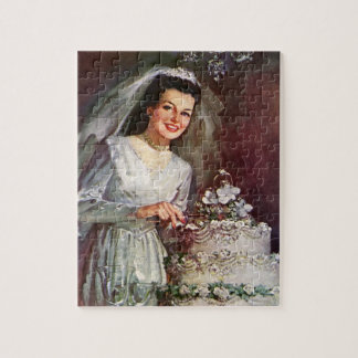 Vintage Wedding, Bride Cutting the Wedding Cake Jigsaw Puzzle
