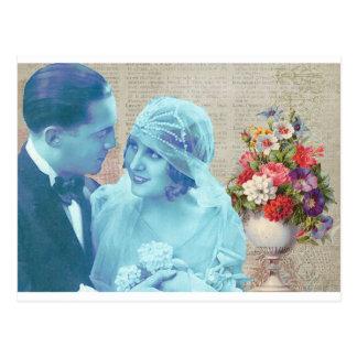 Vintage Wedding bride & groom marriage invitation Postcard