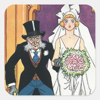 Vintage Wedding Bride Groom May December Romance Square Stickers