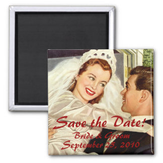 Vintage Wedding Bride Groom Newlywed Save the Date Square Magnet