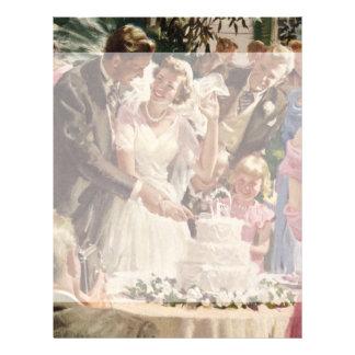 Vintage Wedding Bride Groom Newlyweds Cut Cake 21.5 Cm X 28 Cm Flyer