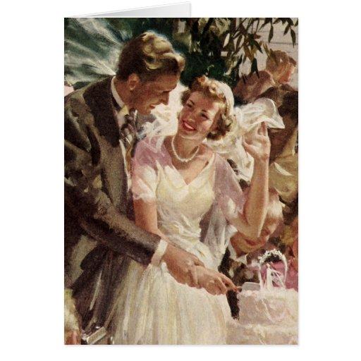 Vintage Wedding Bride Groom Newlyweds Cut Cake Greeting Cards