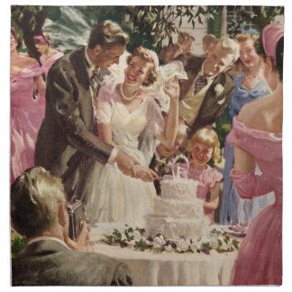 Vintage Wedding Bride Groom Newlyweds Cut Cake Cloth Napkins