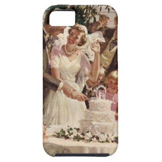Vintage Wedding Bride Groom Newlyweds Cut Cake iPhone 5 Covers