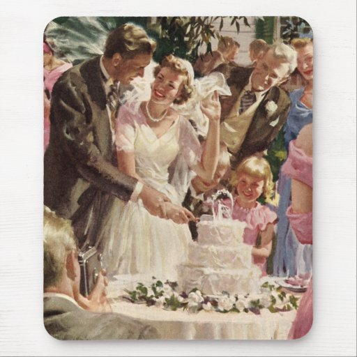 Vintage Wedding Bride Groom Newlyweds Cut Cake Mouse Pads