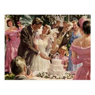 Vintage Wedding Bride Groom Newlyweds Cut Cake Postcards
