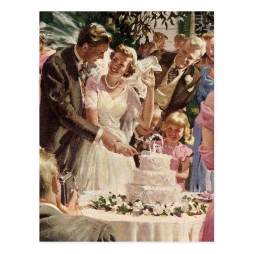 Vintage Wedding Bride Groom Newlyweds Cut Cake Post Card