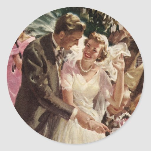 Vintage Wedding Bride Groom Newlyweds Cut Cake Round Sticker