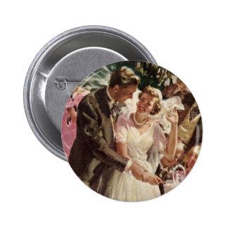 Vintage Wedding Bride Groom Newlyweds Cut the Cake 6 Cm Round Badge