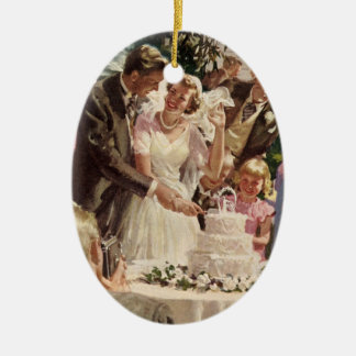 Vintage Wedding Bride Groom Newlyweds Cut the Cake Ceramic Oval Decoration