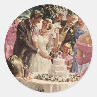 Vintage Wedding Bride Groom Newlyweds Cut the Cake Classic Round Sticker
