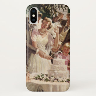 Vintage Wedding Bride Groom Newlyweds Cut the Cake iPhone X Case
