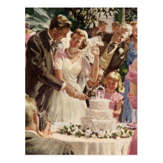 Vintage Wedding Bride Groom Newlyweds Cut the Cake Postcard