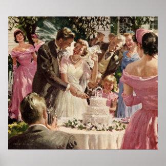 Vintage Wedding Bride Groom Newlyweds Cut the Cake Poster