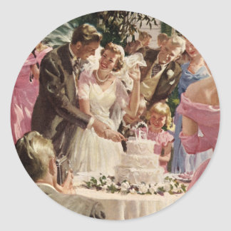 Vintage Wedding Bride Groom Newlyweds Cut the Cake Round Sticker