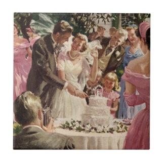 Vintage Wedding Bride Groom Newlyweds Cut the Cake Tile