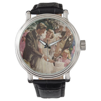 Vintage Wedding Bride Groom Newlyweds Cut the Cake Watch