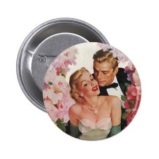 Vintage Wedding Bride Groom Newlyweds Flowers 6 Cm Round Badge