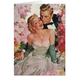 Vintage Wedding Bride Groom Newlyweds Flowers Greeting Card