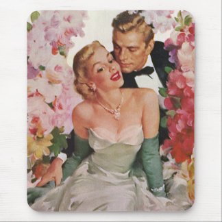 Vintage Wedding Bride Groom Newlyweds Flowers Mouse Pad