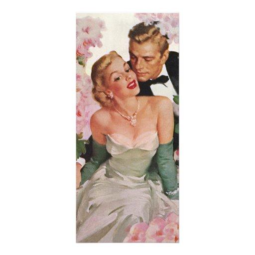 Vintage Wedding Bride Groom Newlyweds Flowers Personalized Rack Card