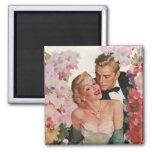 Vintage Wedding Bride Groom Newlyweds Flowers Square Magnet