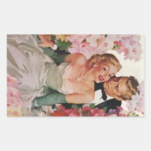 Vintage Wedding Bride Groom Newlyweds Flowers Sticker