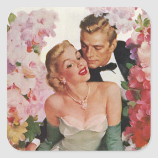 Vintage Wedding Bride Groom Newlyweds Flowers Square Sticker